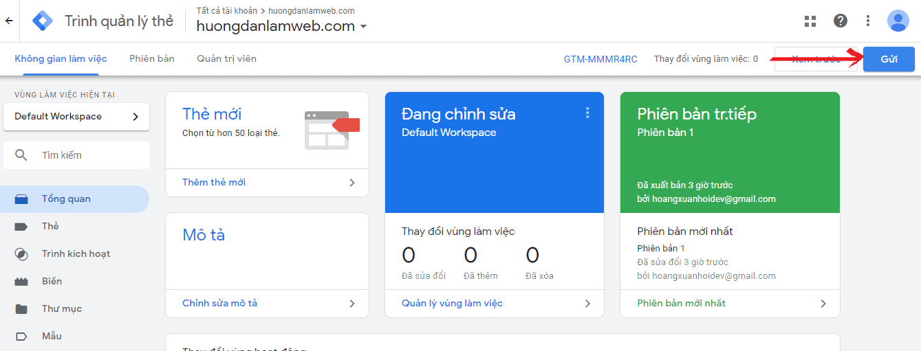 gui va xuat ban google tag manager