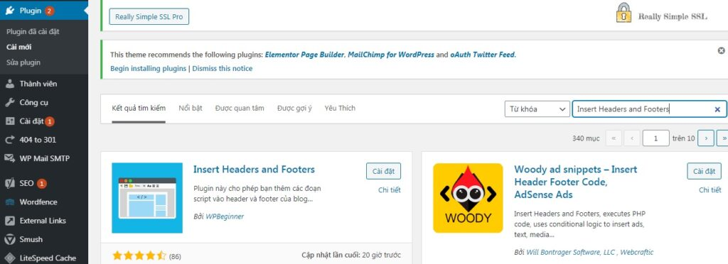 cai dat plugin insert headers and footers