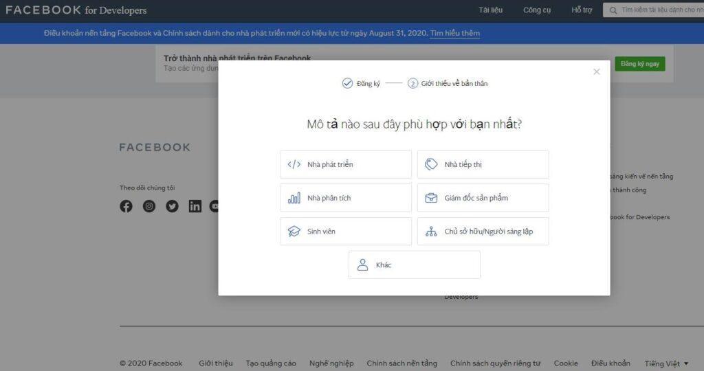 đăng ký trở thành nhà phát triển facebook for developer