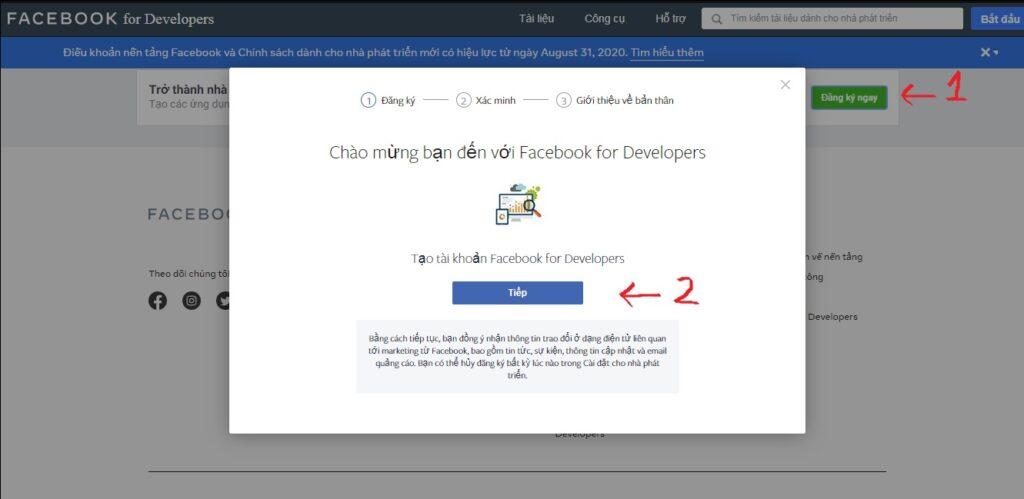 đăng ký facebook for developers