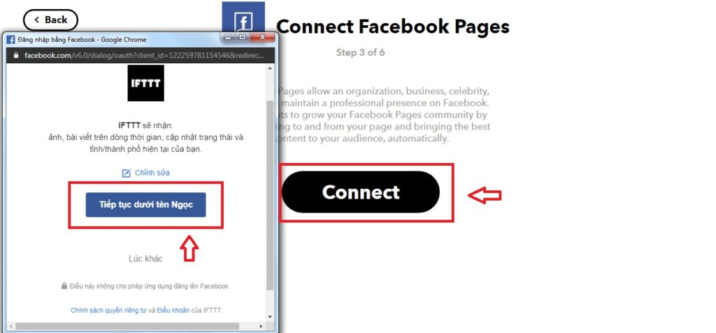 kết nối đến tài khoản facebook