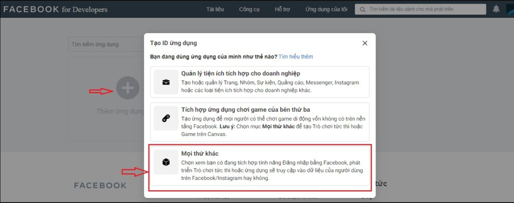 tạo id ứng dụng facebook for developer